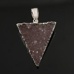 Dazzling Druzy Triangle Pendant in Stunning Earth Tones, Silver Plated, 27x34mm, A+ Gorgeous Quality, Electroplated Edge (SS-DZY/TRI/122) by Beadspoint on Etsy