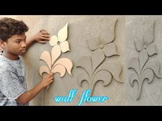 how to make a wallflower. Plastic Spoon Crafts, Wall Design, House Design, Paris Wall Art, Tanjore Painting, Living Room Shelves, Concrete Crafts, Clay Flowers, Flower Wall