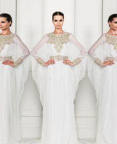 Robe Dubai Kaftan Dress White Chiffon and Silver Beading Long Sleeves Arabic Evening Gowns