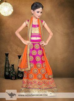 Appealing Purple & Orange #Net #Mirror #Work #Kids #Lehenga #Choli