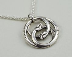 """Double Ouroboros Pendant Necklace - Sterling Silver - 20"""" Wheat Chain. $115.00 Auryn style"""
