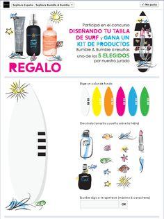 """#Concurso """"Diseña una tabla de surf"""". Objetivo: lanzamiento de la colección Bumble en Sephora. Entorno: Facebook Sephora, App, Marketing, Facebook, Pageants, Goal, Surfboards, Colors, Apps"""