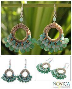 Fair Trade Brass and Quartz Crochet Earrings - Verdant Lanna | NOVICA