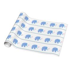 Blue Elephants with Hearts and Stripes Gift Wrap #elephants #wrappingpaper