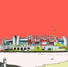 Illustration of Old Trafford by artist Jamie Edwards #United