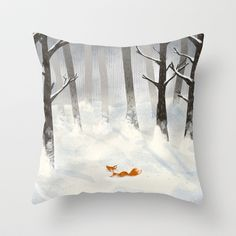 The Fox in the Snow Throw Pillow by Tona - $20.00