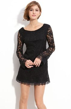 Fire Lace Shift Dress (Juniors) available at Lil Black Dress, Lace Sleeves, Bell Sleeves, Junior Dresses, My Guy, Nordstrom Dresses, Pretty Dresses, Lace Dresses, Types Of Fashion Styles