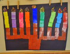 Menorah Craft - love the mosaic style, great for all ages