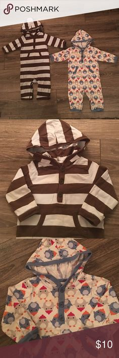 Old Navy Hoodie Onesie Bundle- Size 6-12 Months 2 Old Navy Long Sleeve Hoodie Bundle- Size 6-12 Months. Both outfits are stain and tear free and come from a smoke free home. Old Navy One Pieces Bodysuits