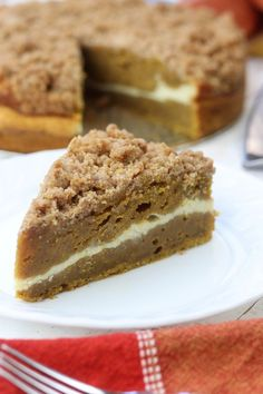 Moist and rich with the best buttery crumble topping, this Pumpkin Pie Coffee Cake recipe is a cross between two classic desserts. Add in the cream cheese layer and this becomes a favorite fall dessert! #CoffeeRecipes
