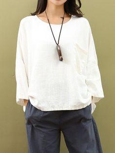 Shop Tops & Tees - Solid Long Sleeve Pocket H-line Linen Crew Neck T-Shirt online. Discover unique designers fashion at PopJuLia.com.