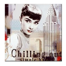 high quality printing painting of Audrey Hepburn on canvas for wall art