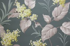 Rosie's Vintage Wallpaper - Yellow Flowers and White Leaves on Green Vintage Wallpaper, $105.00 (http://www.rosiesvintagewallpaper.com/yellow-flowers-and-white-leaves-on-green-vintage-wallpaper/)