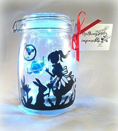Alice in wonderland jar fairy lights by handmadebydebmac on Etsy