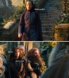 "😂 ""That's not an Elf maid!"" Poor Kili looked so horrified and embarrassed! Fili Und Kili, Kili And Tauriel, Legolas And Thranduil, Tolkien, Aidan Turner Kili, Kili Hobbit, Hobbit Funny, Lotr Elves, Concerning Hobbits"