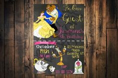 PRINTABLE Beauty and the Beast invitation - Beauty and the Beast JPEG Birthday invitation by PeaceLoveCreationsCo on Etsy https://www.etsy.com/listing/273692872/printable-beauty-and-the-beast