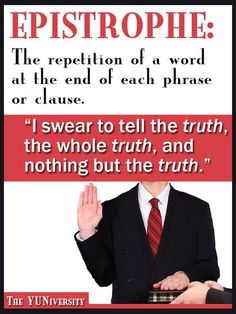 The repetition of the same word at the end of successive clauses or sentences In Other Words, New Words, Repetition Of Words, Rhetorical Device, Study Methods, Language And Literature, Figurative Language, Tell The Truth, To Tell