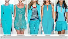 Top 10 Women's colors for Spring / Summer 2015, by Fashion Snoops. A blue-influenced aqua hue is particularly relevant set to sport or surf influenced collections.