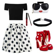 Red and black ❤️ by leatitiakhalid on Polyvore featuring polyvore, fashion, style, Alice + Olivia, Jimmy Choo, Miss Selfridge and clothing