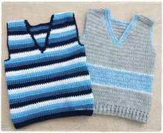 ABRIR I think sleeveless tops are invaluable for little one's because they can be warn at any time of the year, pop one over a T shirt when the w. Crochet Toddler, Crochet Baby Clothes, Crochet For Boys, Crochet Tank Tops, Crochet Shirt, Knit Crochet, Baby Boy Knitting Patterns, Knitting For Kids, Crochet Vest Pattern