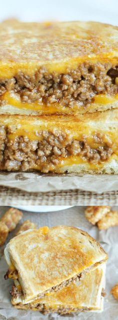 It's sloppy joe meets grilled cheese and it's a match made in heaven! These Sloppy Joe Grilled Cheese Sandwiches are just plain ridiculous! You're going to be hooked after one bite! Tacos, Tostadas, I Love Food, Good Food, Yummy Food, Delicious Recipes, Grilled Cheese Sloppy Joe, Grilled Cheeses, Grilled Food