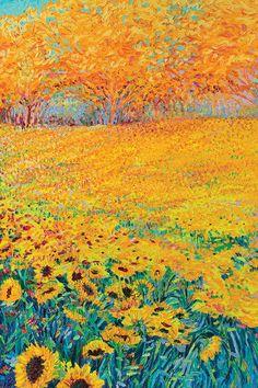 Sunflower Triptych Panel III Art Print by Iris Scott   iCanvas