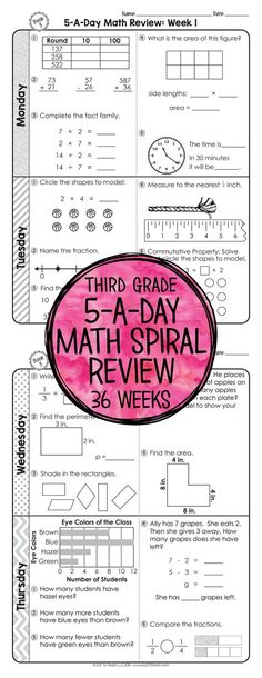 36 weeks of daily Common Core math review for third grade! Preview and Review important 3rd grade math concepts all year long! Perfect for homework, morning work, or test prep! 5-A-Day: 5 tasks a day, M-Th. CCSS M.3 Available for 3rd - 6th grades! $