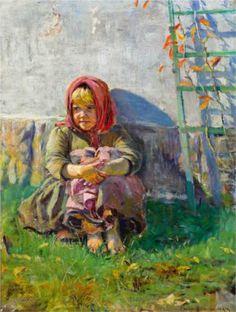 Little Girl in a Garden - Nikolay Bogdanov-Belsky