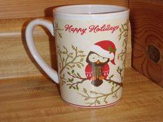 Happy Holidays Christmas Ceramic Owl in Santa Hat Coffee Mug