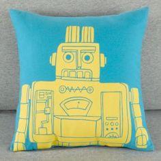 The Land of Nod   Kids Throw Pillows: Kids Robot Throw Pillows in Throw Pillows