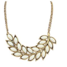 White leaf necklace Vintage gold and white necklace Jewelry Necklaces