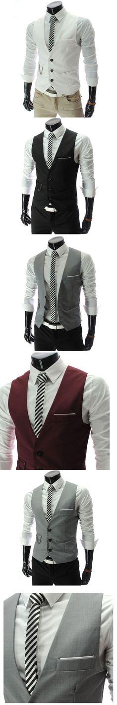 New 2016 Listing Men Vest Fashion New Brand Solid Design Waistcoat Male Casual Slim Fit Suit Vests Men Plus Size M-XXL Veste 50