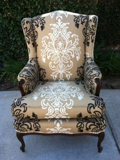 Lucia Wing Back Chair by soulandlovedesigns on Etsy. Cool chair for a master bedroom! Funky Furniture, Furniture Makeover, Painted Furniture, Living Room Furniture, Furniture Ideas, Decoration Baroque, Deco Originale, Painted Chairs, Cool Chairs
