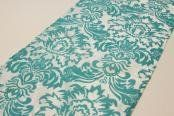 """Wholesale wedding Flocking Taffeta Runner - Turquoise & White . $3.69. Color: Turquoise & White Quantity: 1 pc Condition: Brand New Material: Velvet design on taffeta Dimensions: approx. 12""""x108"""" Care Instruction: Hand wash and hang dry Dry clean. Do not bleach.Wholesale wedding"""