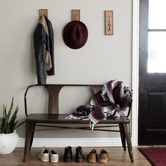 Cool entryway - add small side table for keys, sunglasses, etc... Tabouret Vintage Metal Bench with Back