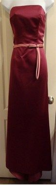 Alfred Angelo 12 Strapless Solid Burgundy Full-Length Formal Gown