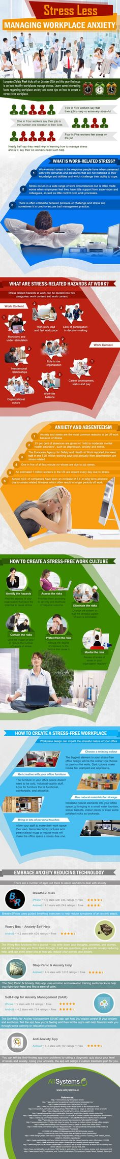 All Systems.ie produced this infographic that provides interesting facts regarding workplace anxiety. The infographic shares some useful tips on how to cre Stress Less, Stress And Anxiety, Stress Free, Employee Wellness, Career Education, Professional Development, Job Search, Workplace, Helpful Hints