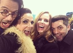 The cast at the OUAT 100 episode celebration tonight! - Lana Parrilla, Bex and SO. So much fun at the #onceturns100 party last night!! #celebration #party #100 #onceuponatime