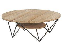 Table basse ronde en bois et m tal cercle hanjel deco - Tables basses rondes en bois ...