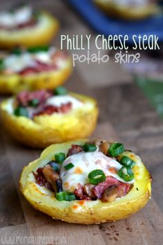 Philly Cheese Steak Potato Skins are sure to please any crowd! Appetizer or dinner - they're always a winning choice! | MomOnTimeout.com