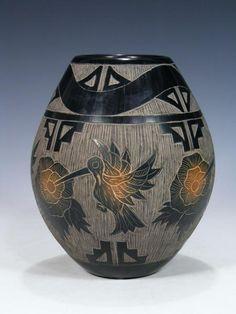 Santa Clara Pueblo Hand Coiled Black Pottery