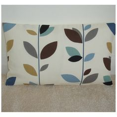 """IN BLUE, BLACK, TEAL, GREY, BROWN, BEIGE, DUCK EGG ON A CREAM BACKGROUND. ~ ~ A NEW 20""""x12"""" OBLONG CUSHION COVER ~ ~. HIGH QUALITY ENVELOPE BACK IN 100% COTTON. THE PATTERN PLACEMENT WILL VARY FROM COVER TO COVER DUE TO DESIGN. 