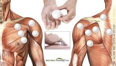 Massaging shoulder with golf ball