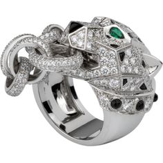 Cartier Panther Ring (white gold, diamonds, onyx, and emeralds.... YUM)