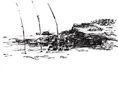 boceto a rotulador pincel y boligrafo. Pescadores de caña en Cala del Moro (alcossebre)