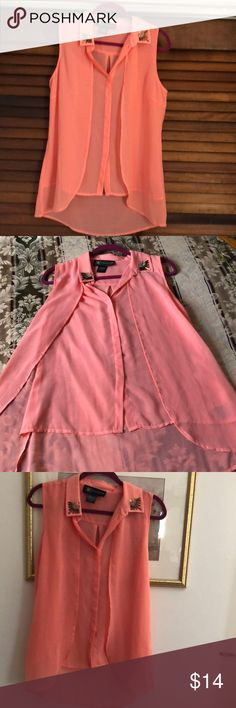 Kardashian Kollection Blouse size M Soft 100% polyester Sheer Blouse size M Longer in back - salmon color Kardashian Kollection Tops Blouses