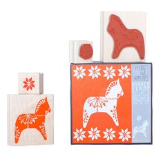 The Dala Horse Stamp Set is the perfect holiday stamp for making wrapping paper and cards! Stamp set includes two natural rubber stamps mounted on maple blocks.