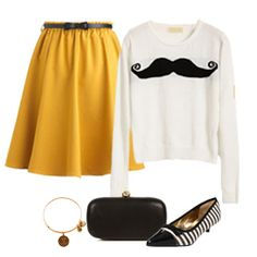 Mustard Mustache  (Don't really care for the skirt or shoes, there is a thing called alternatives...)
