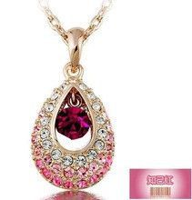 Fashion Crystal Pendants Necklaces Water Drop Austrian Rhinestone Necklaces For Women Jewellery