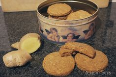 Homemade ginger biscuits with wholemeal flour & oats, and half the sugar most recipes use. Good stuff!